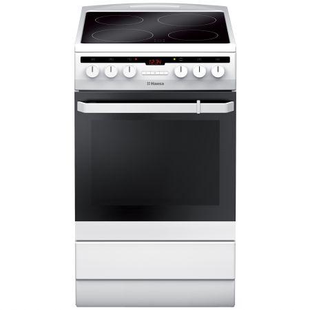 Електрическа готварска печка Hansa FCCW58200, 4 стъклокерамични нагревателни зони, Бяла
