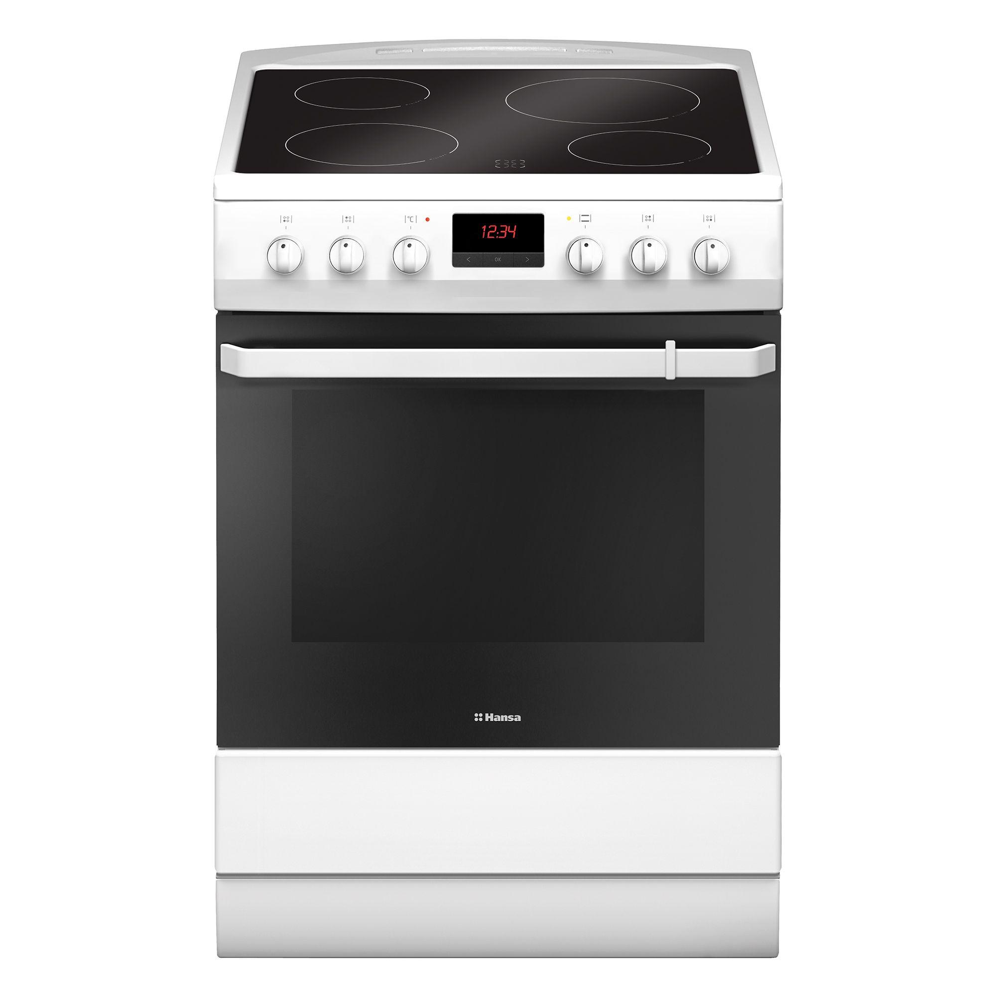 Електрическа готварска печка Hansa FCCW69209, 4 Нагревателни зони, Функция грил, Клас A, Бяла
