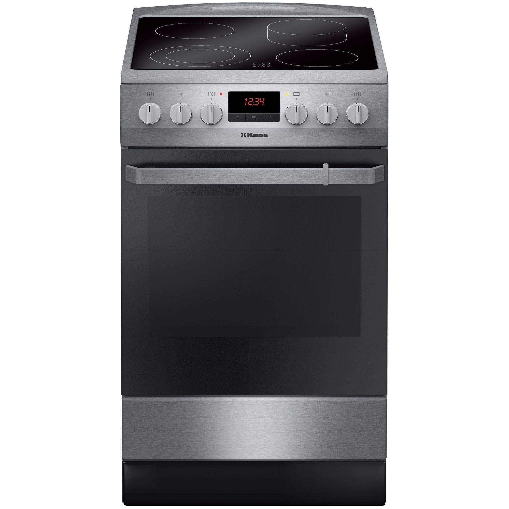 Електрическа готварска печка Hansa FCCX59129, 4 Нагревателни зони, Функция грил, Клас A, Инокс