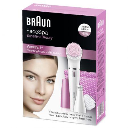Епилатор за лице Braun Face SE832S Лимитирана серия, Wet&Dry, 10 пинсети, Почистваща четка за лице, Несесер, Розов/Бял