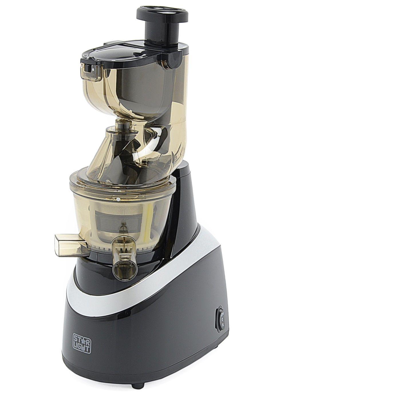 Сокоизстисквачка за плодове и зеленчуци със спирала Star-Light SJB-240B, 240 W, 80 RPM, Съд за сок 1.0 л,Функция Reverse, Тръба 80 мм, Черна/Сребриста