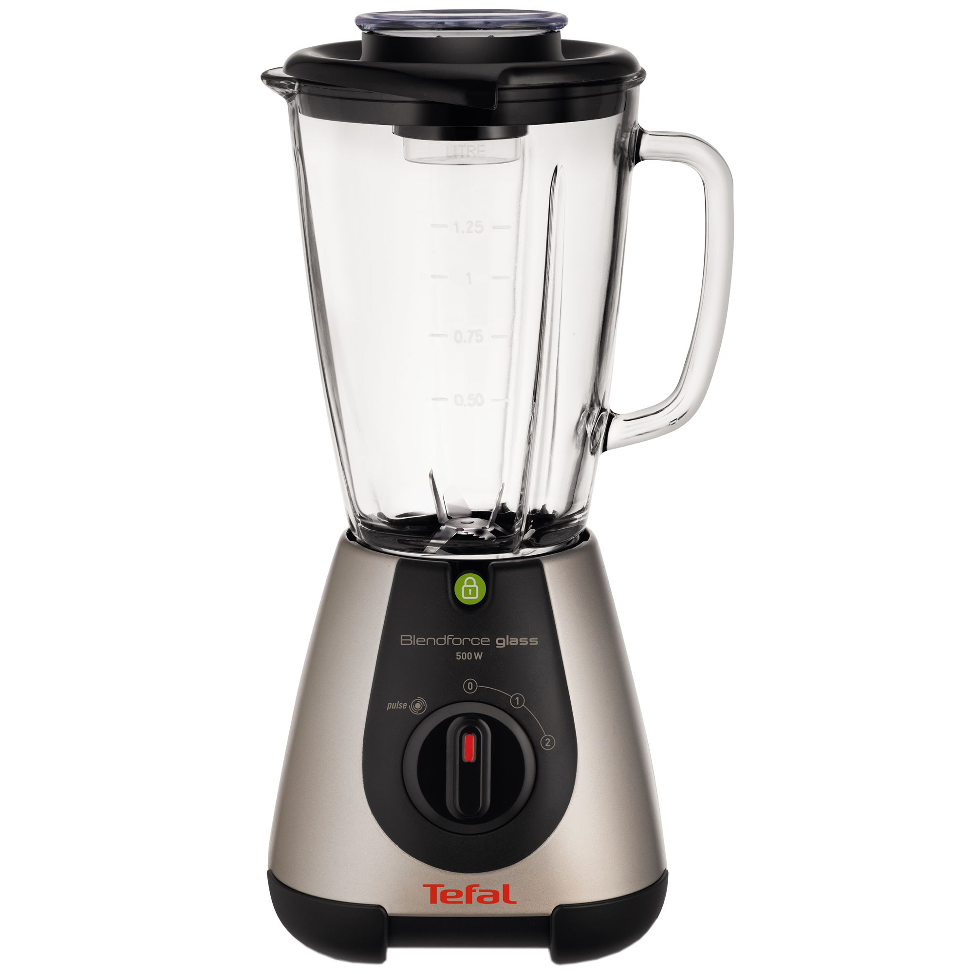 Блендер Tefal BlendForce Glass Tripl'Ax BL313A38, 500 W, 1.25 л, 2 скорости, Черен/Инокс