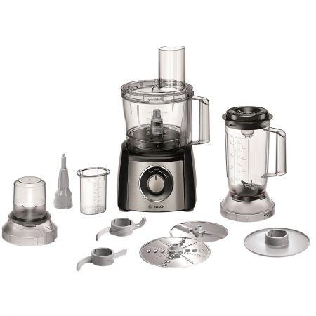Кухненски робот Bosch MCM3501M, 800 W, 2 Скорости + Функция Moment, Блендер 1 л, Купа 2.3 л, Мелница, Черен/Инокс