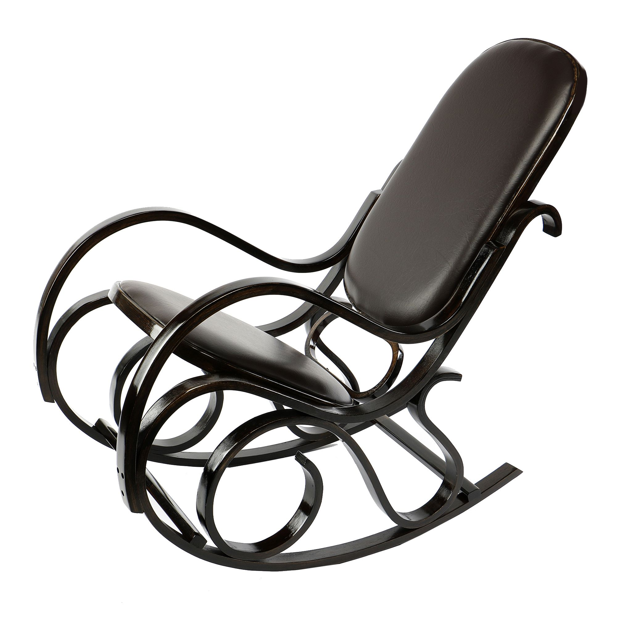 Люлеещ се стол Kring Sun, 51.5 x 91 x 97 cм, Екологична кожа, Кафяв