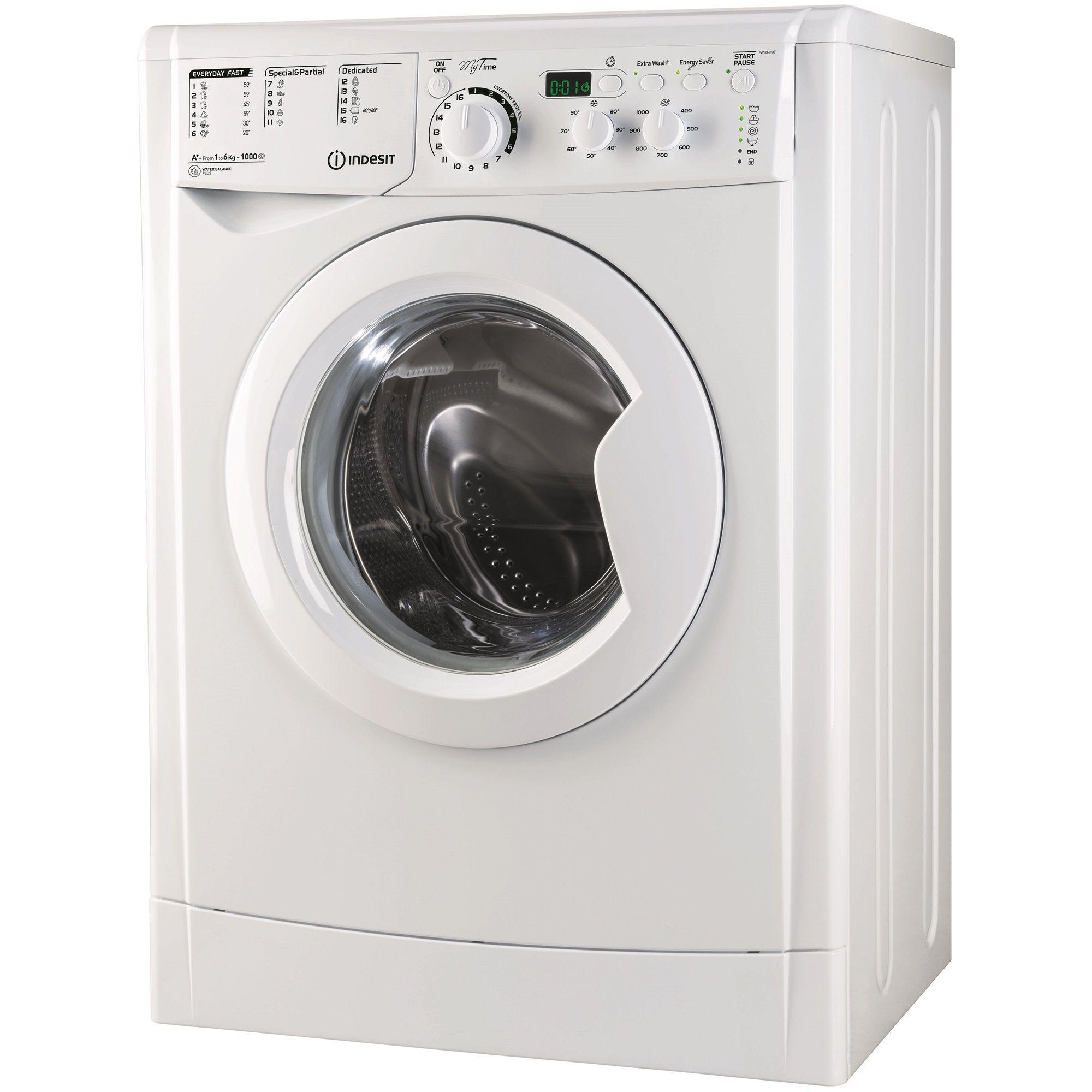 Пералня Indesit Slim EWSD 61051 W EU, 1000 об/мин, 6 кг, Клас A+, Бяла