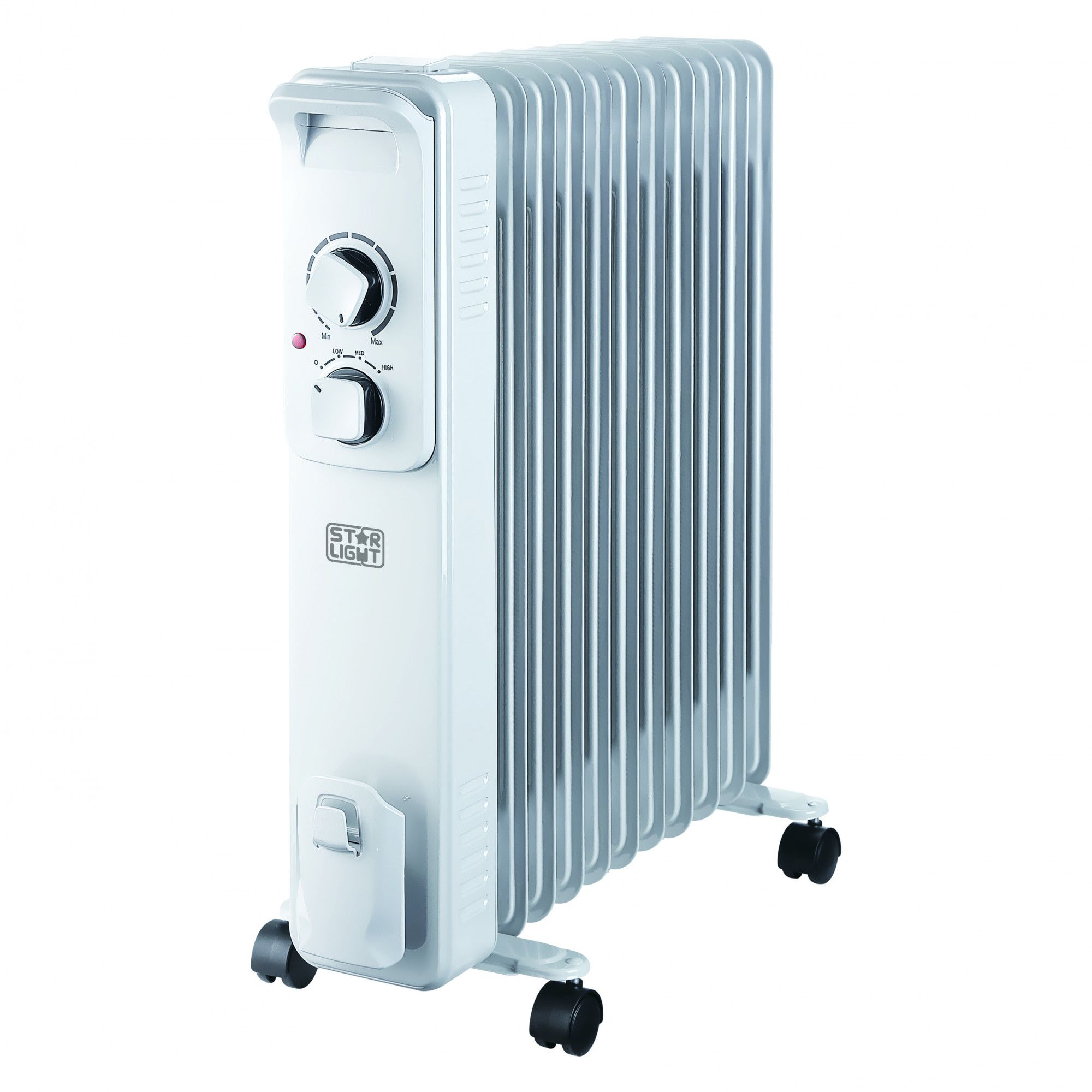 Електрически радиатор Star-Light YOH9S, 2000W, 9 елемента, 3 степени на мощност, Регулируем термостат, Защита от прегряване, Бял
