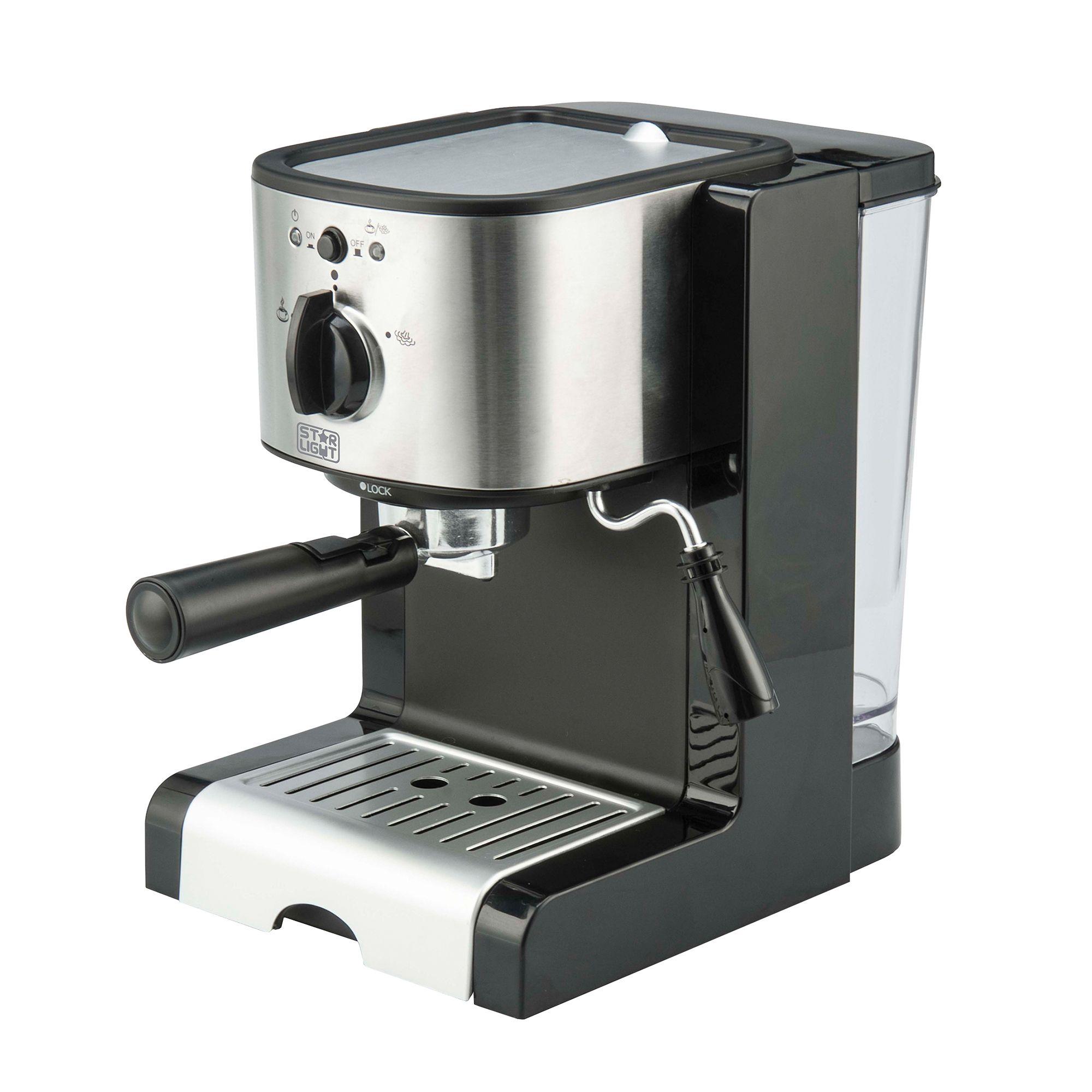 Еспресо машина Star-Light EMD-1515, Ръчна, 15 бара, Устройство за пяна, 1.5 л, Черна/Inox