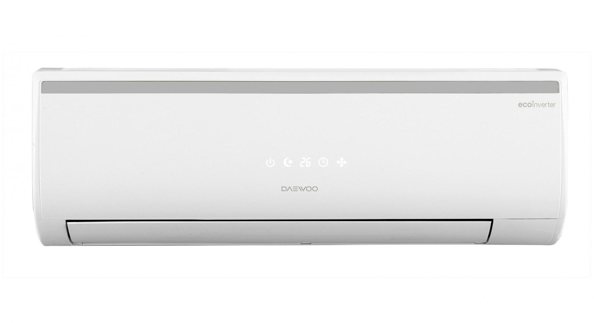 Климатик Daewoo DSB-F1281ELH-VK, Инверторен, 12000 BTU, Клас A++, Функция Turbo, Auto Restart, Скрит Display, Включен комплект за инсталиране, 3 м, Бял