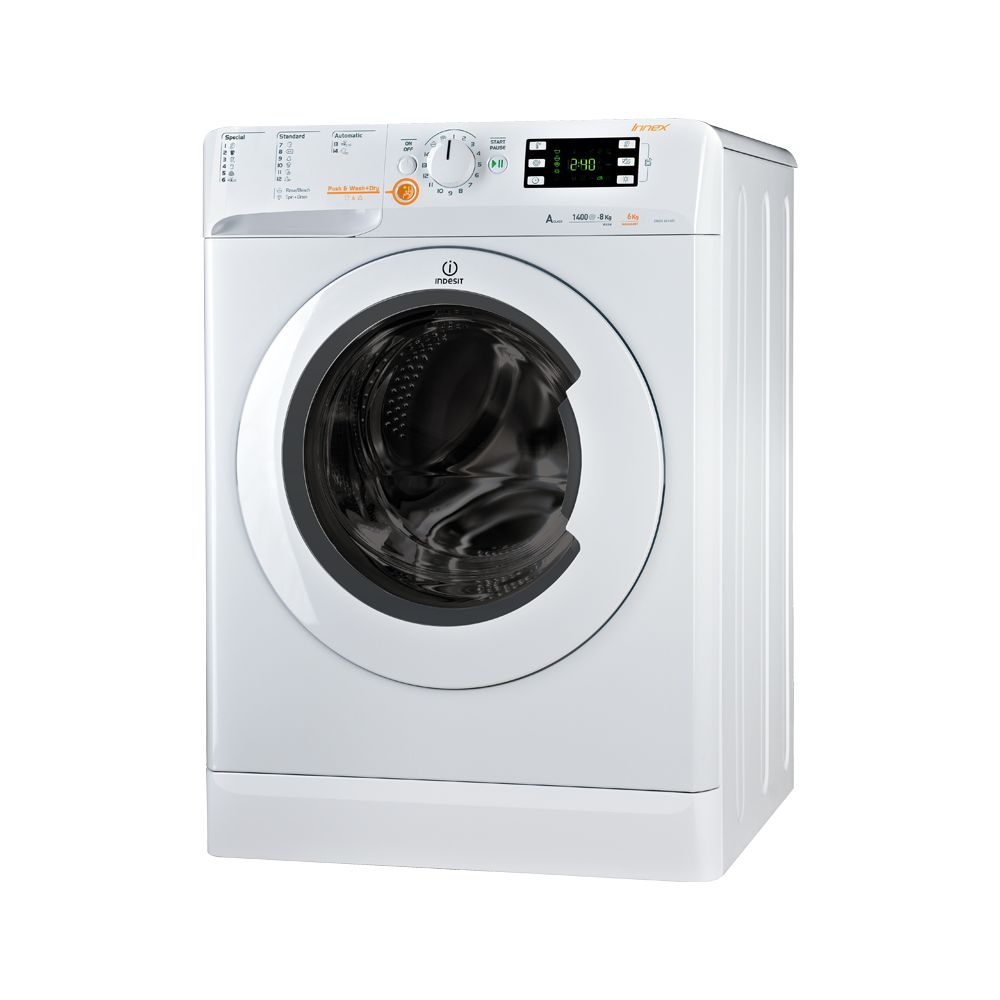 Пералня със сушилня Indesit Innex XWDE 861480X, 1400 об/мин, Капацитет изпиране/сушене 8/6 кг, Клас А, 16 Програми , Бял