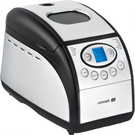 Хлебопекарна Concept PC5060, 800W, 1300 g, 12 програми, Форма за багети, Инокс