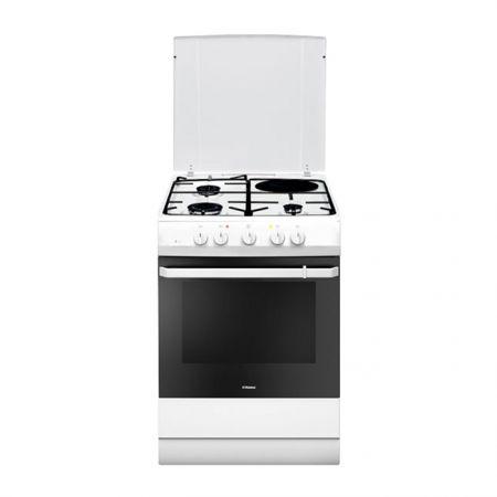 Комбинирана готварска печка Hansa FCMW64009, 3 газови котлона, 1 ел. котлон, Функция грил, Клас А, Бяла