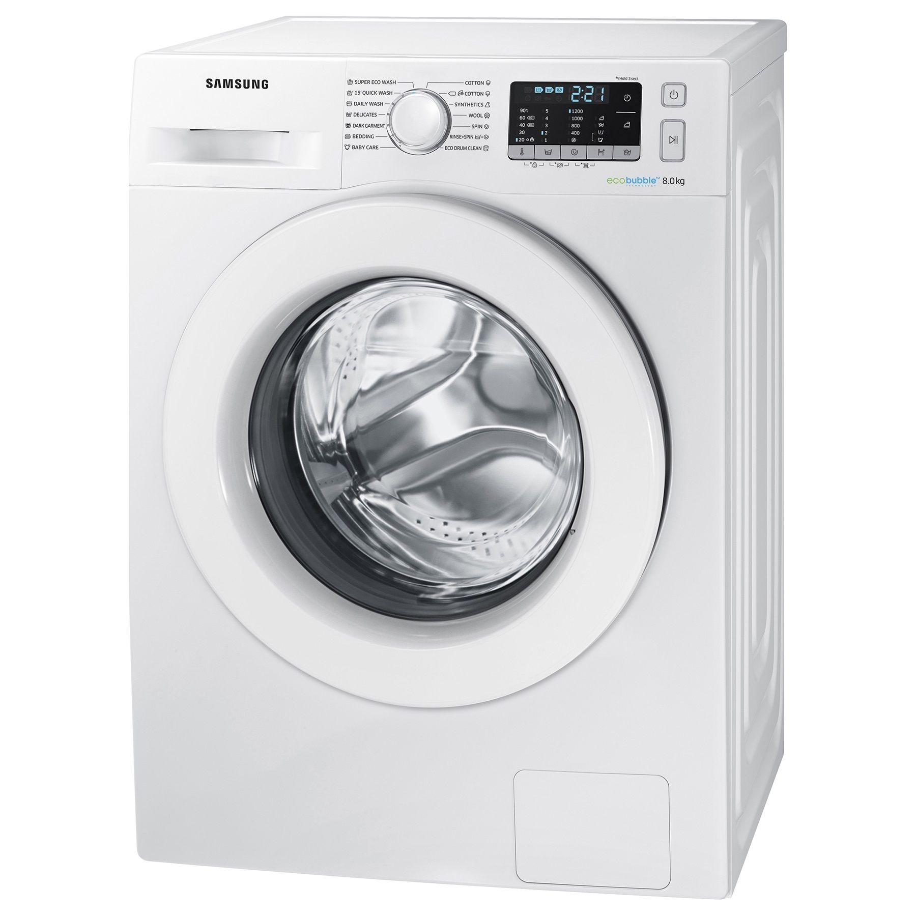 Пералня Samsung WW80J5345MW/LE, EcoBubble, 8 кг, 1200 об/мин, Клас A+++, 60 см, Бяла