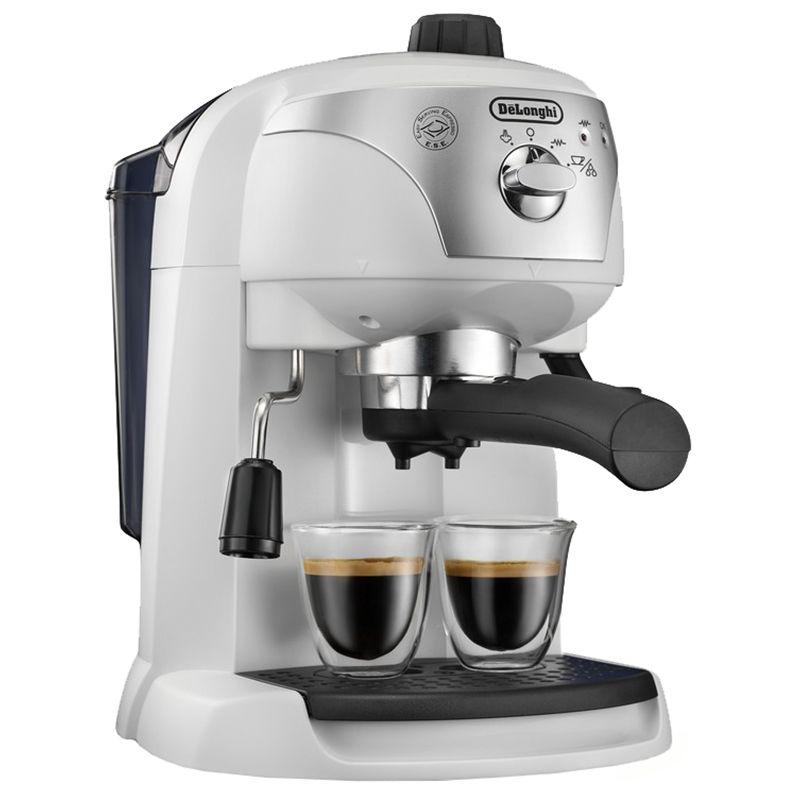 Еспресо машина DeLonghi EC221.W, Ръчна, Устройство за пяна, Система cappuccino, 15 бара, Автоматично изключване, Бяла