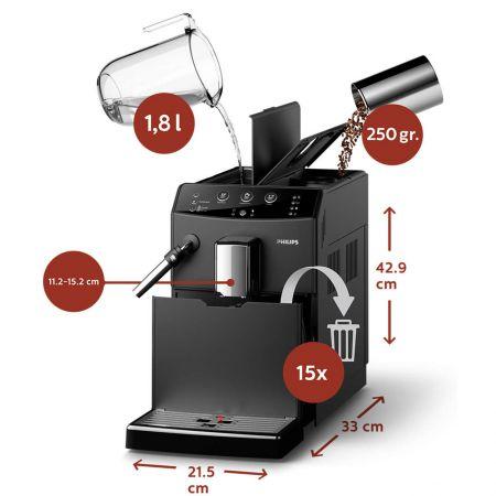 Еспресо машина Philips HD8827/09, 1850W, Система на разпенване на мляко, Керамични мелнички, Бързозагряващ нагревател, 15 бара, 1.8 л, Черна