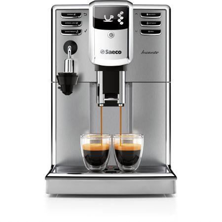Еспресо машина Philips Saeco Incanto HD8914/09, Система за пяна, Функция Cappuccino, Керамична мелачка, 15 бара, 1.8 л, Черна/Инокс
