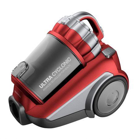 Прахосмукачка без торба Daewoo RCC-250R, 1550 W, 3 л, Телескопична тръба, Филтър HEPA, Червена/Сива