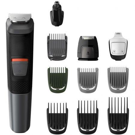 Тример за лице и тяло 11 in 1 Philips MG5730/15, Остриета със самозаточване, Батерия, 7 накрайника за лице, Глава и тяло, Технология DualCut, Черен