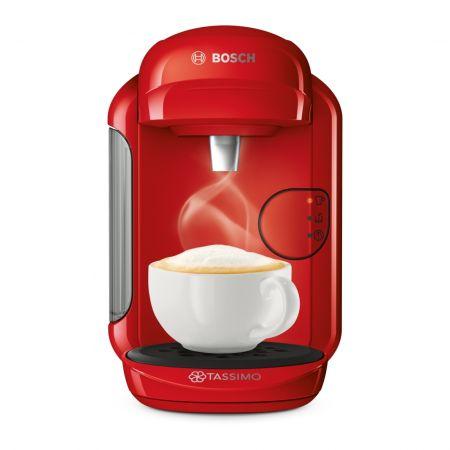 Еспресо машина Bosch Tassimo Vivy II TAS1403, 1300w, 3.3 бара, 0.7 л, Самопочистване и премахване на котлен камък, Капсули, Червена