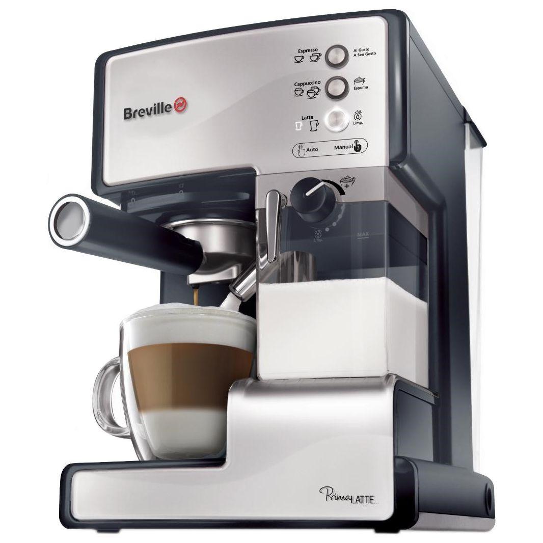 Еспресо машина Breville Prima Latte VCF045X-01, Функция разпенване на млякото, Функция Cappuccino, Самопочистване, 15 бара, 1.5 л, Съд за мляко 0.3 л, Сребриста