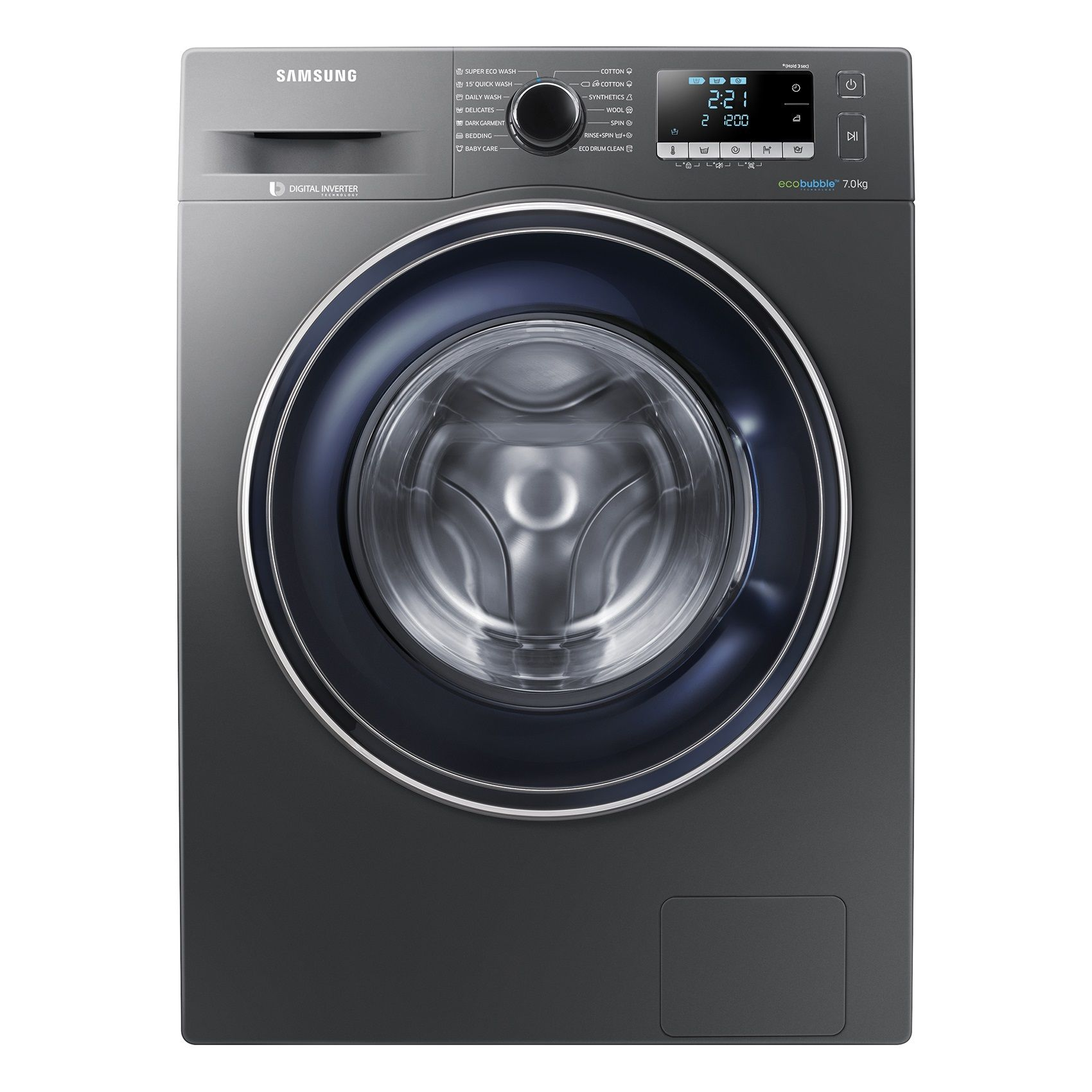 Пералня Samsung WW70J5246FX/LE, EcoBubble, Инверторен мотор, 7 кг, 1200 об/мин, Клас A+++, 60 см, Инокс