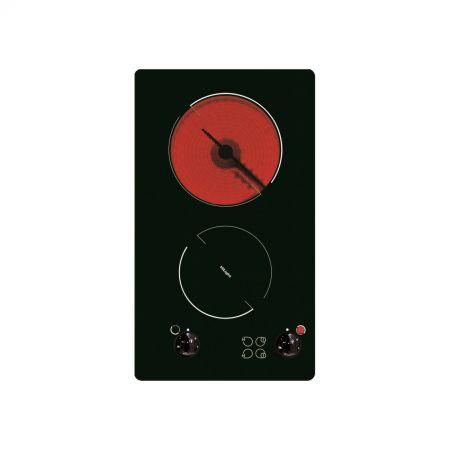 Плот за вграждане домино Hansa BHCS38120030, Витрокерамика, 2 Нагревателни зони, Черно стъкло