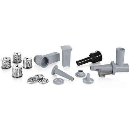 Месомелачка Bosch MFW68660, 2200W, 4.3 кг/мин, 3 приставки, аксесоар за домати, аксесоар Kebbe, Фуния за наденица, 4 диска за рязане/филиране, Черна/Сребриста