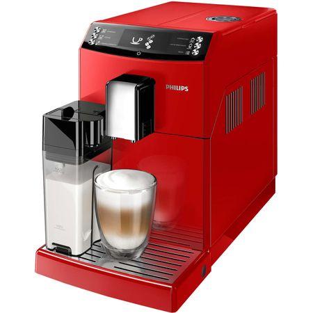 Еспресо машина Philips EP3363/10, Супер автоматична, Филтърна система AquaClean, Интегрирана кана за мляко, 5 настройки на интензитет, Опция за меко кафе, 6 напитки, Червена