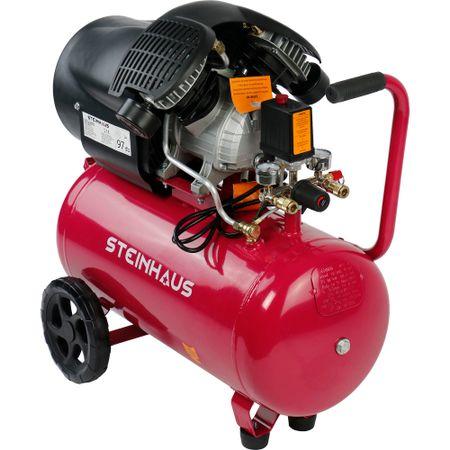 Въздушен компресор Steinhaus с 2 цилиндъра, 50 л, 2200 W, 3 к.с., 8 бара, 392 л/мин