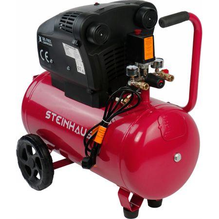 Безмаслен въздушен компресор Steinhaus, С 2 цилиндъра, 50 л, 1800 W, 2.5 к.с., 8 бара, 322 л/мин