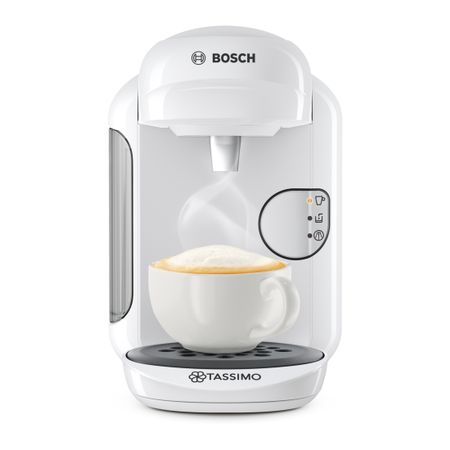 Еспресо машина Bosch Tassimo Vivy II TAS1404, 1300w, 3.3 бара, 0.7 л, Самопочистване и премахване на котлен камък, Капсули, Бяла