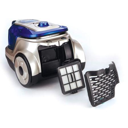 Прахосмукачка без торба Heinner HVC-V750BL, 750W, Контейнер от пластмаса 2.2L, Циклонен филтър, Двоен HEPA филтър 13, Blue / Champagne
