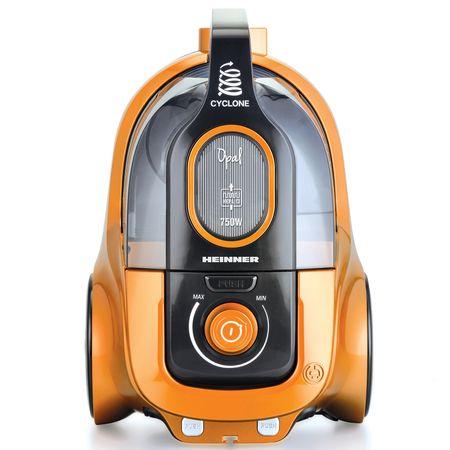 Прахосмукачка без торба Heinner HVC-V750OR, 750W, Контейнер от пластмаса 2.2L, Циклонен филтър, Двоен HEPA филтър 13, Черна / Оранжева