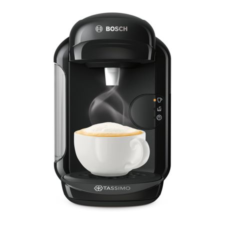 Еспресо машина Bosch Tassimo Vivy II TAS1402, 1300w, 3.3 бара, 0.7 л, Самопочистване + Премахване на котлен камък, Капсули, Черна