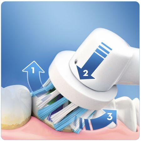 Комплект четки за зъби Oral-B Vitality Cross Action 2D, 2 броя, Презареждаща, 1 програми, 2 накрайника, Бяла/Синя