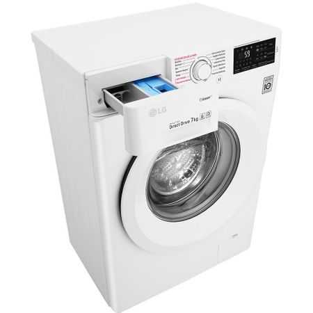 Пералня LG F2J5HY3W, 7 кг, 1200 об/мин, Клас A+++, Steam технология, 6 Motion Direct Drive, Бяла