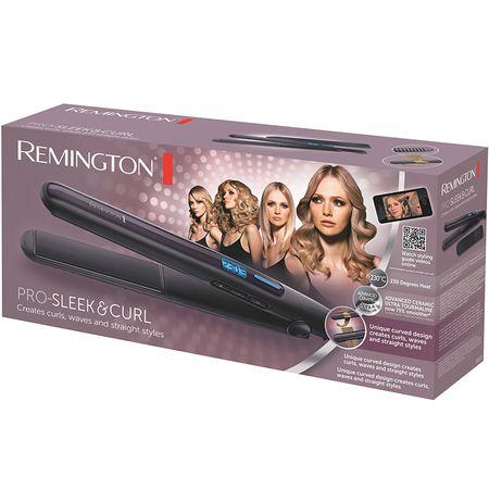 Преса за коса Remington PRO-Sleek & Curl S6505, 230 градуса, Лилава