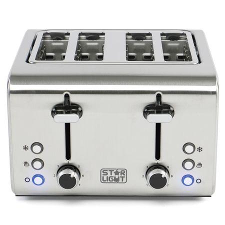 Тостер Star-Light TD-4160W, 1600 W, 4 филии, Регулируема степен на препичане, 7 степени, Функция размразяване, Inox