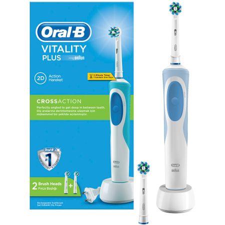 Електрическа четка за зъби Oral-B Vitality Plus Cross Action, 2 накрайника, 1 зарядно устройство