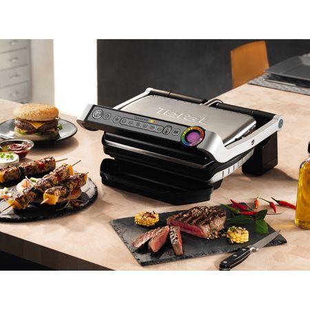 """Ел. скара Tefal OptiGrill+ GC712D , 2000 W, 6 Авт. програми и индикатор, Светещ индикатор """"готов за готвене"""", Площ за готвене: 30 x 20 см, Инокс/Черна"""