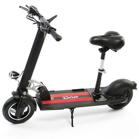 """Електрическа тротинетка скутер 2Drive, 10"""", Автономия до 20 км, Максимална скорост 25 км/ч, Батерия 10.4 AH LG, Със седалка, Черна"""