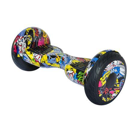 """Електрически ховърборд скутер 2Drive Off Road , Гуми 10.5"""", Автономия 15 км, Скорост 10 км/ч, Мощност на мотора 700W (2 x 350), Bluetooth, Говорители, Чанта за транспортиране, Жълти графити"""
