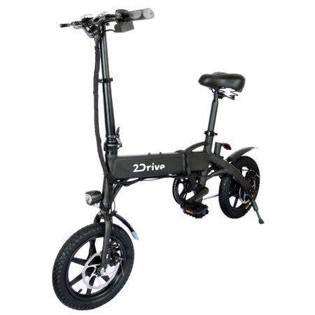 """Електрически велосипед 2Drive, Скорост 25 км/ч, Автономия 35 км, Мотор 250W, Колела 14"""", LED дисплей с USB порт за зареждане на телефон, Черен"""