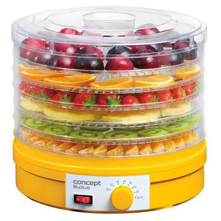 Уред за сушене на плодове Concept SO1015, 245 W, 6 нива, 35-70 градуса, Жълт