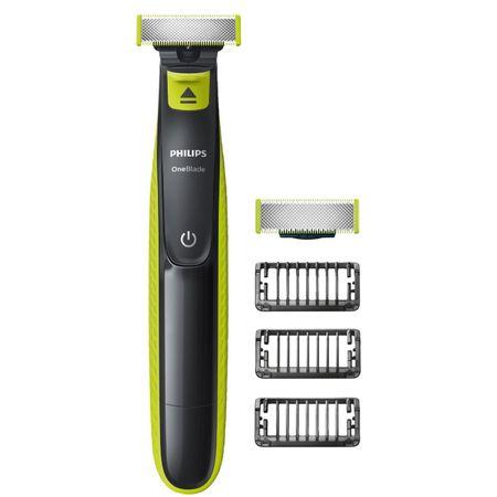 Хибриден уред за подстригване/оформяне/бръснене на брада Philips OneBlade QP2520/30, 3 гребенчета, 2 глави, Презареждаща се батерия, Черен/Зелен