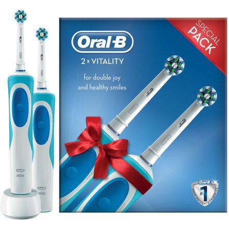 Комплект четки за зъби Oral-B Vitality Cross Action 2D, 2 броя, Презареждаща, 7600 осцилации/мин, 1 програма, 2 накрайника, Бяла/Синя