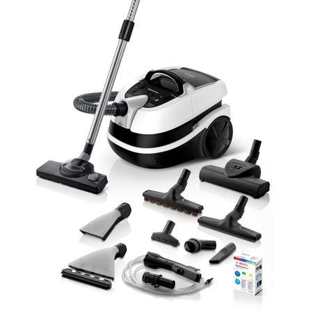 Перяща прахосмукачка Bosch BWD421PRO, 2100 W, Филтър Hepa, Турбо четка и четка за паркет, Електронно регулиране на мощността, Бяла/Черна