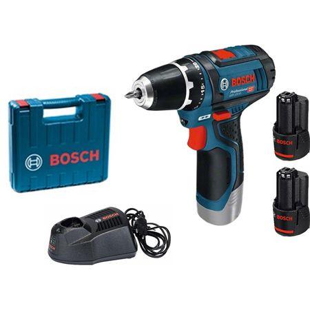Акумулаторна бормашина Bosch Professional GSR 12V-15, 2 Ah, 30 Nm, 2 акумулатора