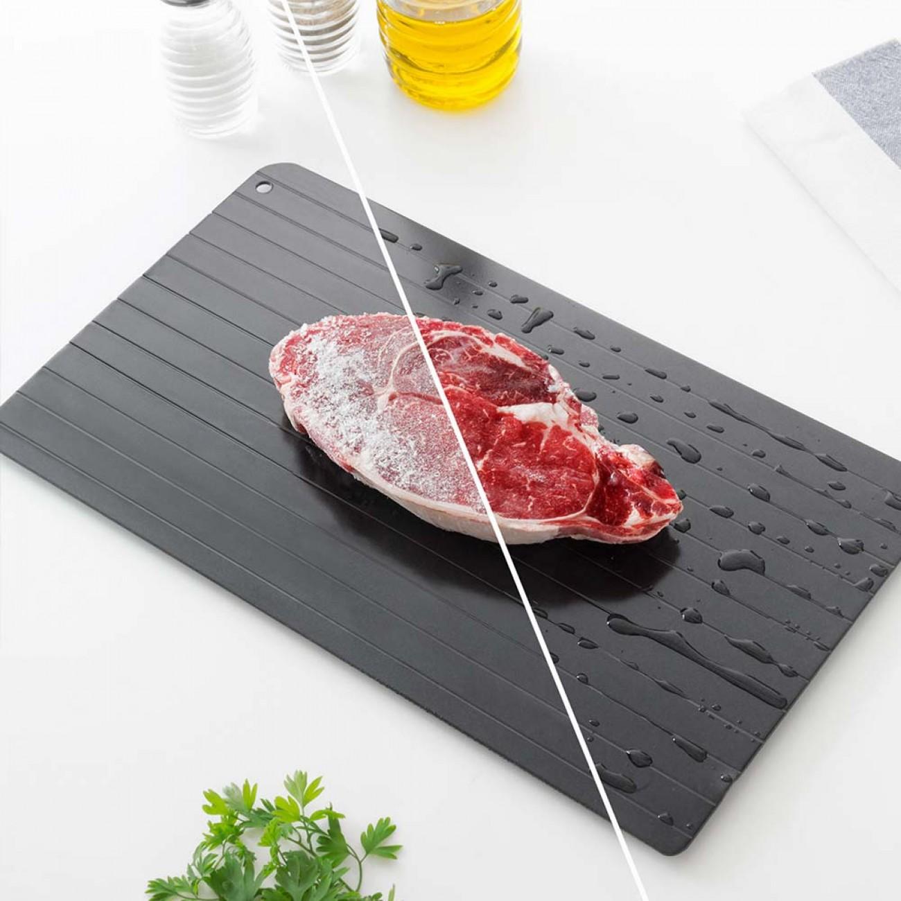 Дъска за бързо размразяване на храни InnovaGoods, 35 x 20,5 x 1 см, Черна