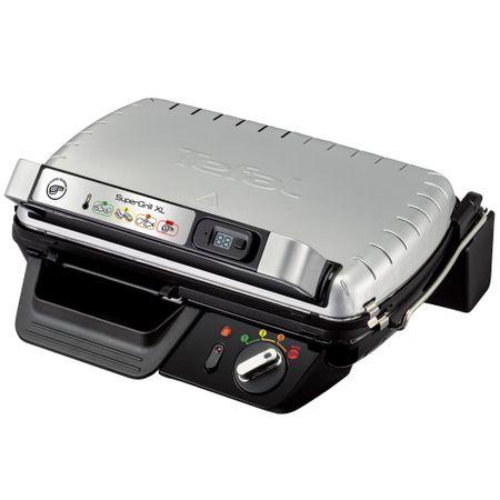 Електрическа скара Tefal Supergrill XL GC461B34, 2400 W, LED индикатор, Дигитален таймер, Сив