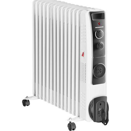 Електрически маслен радиатор Heinner HOH-YV13BK, 2500 W, 13 ребра, Вентилатор 400W, Защита от прегряване, Регулируем термостат, Бял